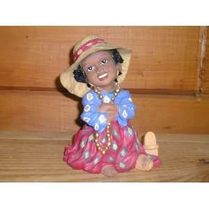Afro   American Lady with Fancy Hat (6tall) (Polyresin