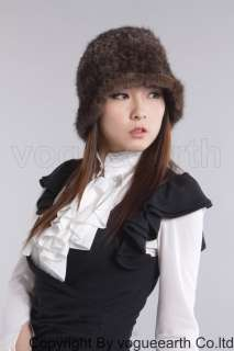 566 new real knitted mink fur 6 color hat /caps