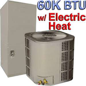 Ton Central AC w/ Electric Heat, 60000 BTU Air Conditioner Heater