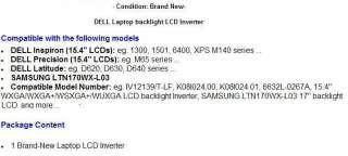 DELL Inspiron 15.4 6400 LCD screen backlight inverter