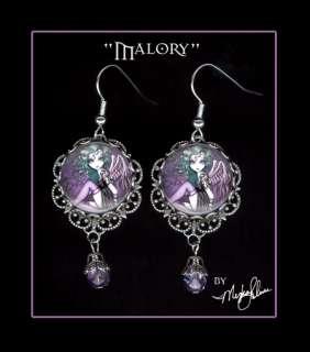 Gothic Violet Angel Art Dangle EARRINGS Fairies Malory