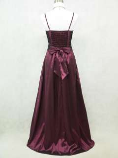 Cherlone Satin Dark Purple Long Ball Gown Wedding/Evening Dress UK