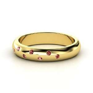 Starry Night Band, 14K Yellow Gold Ring with Red Garnet