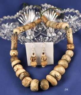 Designer African Trade Bead Necklace & Earring Set