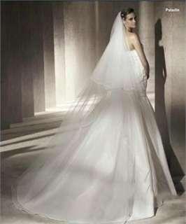 Long White / Ivory Crystal Bridal wedding Veil accessories AV001