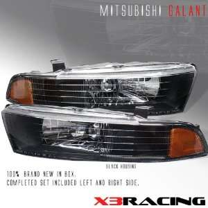 Mitsubishi Galant Headlights JDM Black Crystal Headlights 1999 2000
