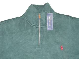NWT POLO RALPH LAUREN MENS SOLID DARK GREEN RED PONY LOGO HALF ZIP