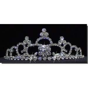 Bridal Wedding Tiara Crown With Three Crystal Center 41286
