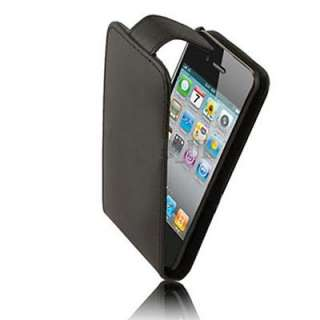 Black Flip Leather Case Punch For Apple iphone 4 4G 4S
