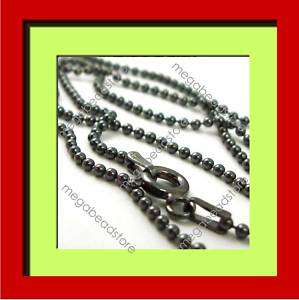 5mm Dark Oxidized 925 Sterling Silver Bead Chain Italy Necklace FC10