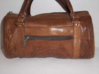 Vintage Tooled Leather Force Ten Handbag Purse Satchel Western