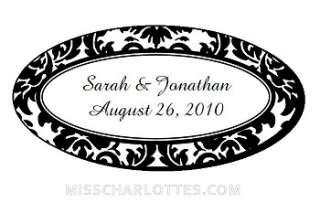 105 Personalized Damask Wedding Oval Favor Labels