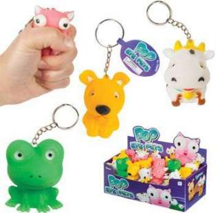 Pop Eye Pets Squeeze Stress Fidget Keychain Dog Cow Pig