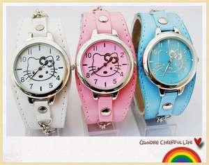 Cute Leather HelloKitty lovely Girls women Quartz Watch Wristwatch A13