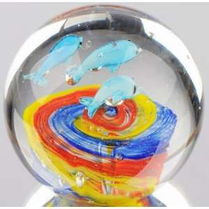 Joyful Dolphins with Colorful Waterbed Paperweight Furniture & Decor