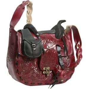 BORDER LEATHER DOLLY HAND TOOLED LEATHER SADDLE HANDBAG