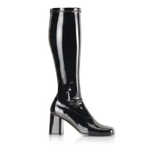 Black Wide Calf GoGo Boots Size 7: Toys & Games