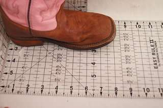 Old West Pink Brown Leather Western Boots 11.5 Girls Toddlers Shoes