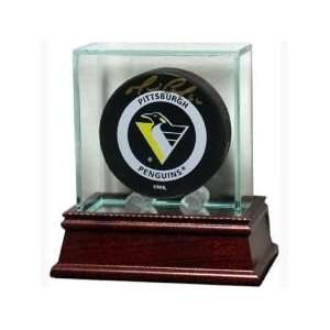 Glass Hockey Puck Display Case With Cherry Wood Base