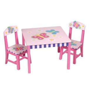 New Kids Butterfly Hand Painted Wood Table & Chair Set