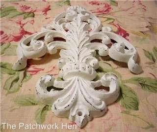 Shabby WHITE Cottage Chic Ornate Flourish Cast Iron