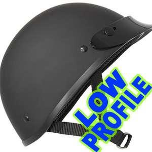 LOW PROFILE DOT Motorcycle Half Helmet FLAT Matte BLACK Outlaw AX4000