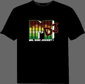 Sound Activated M DJ shape LED Light EL Music T Shirt