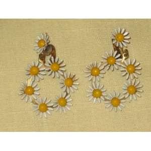 Flower Power Enamel Clip On Earrings (not signed)