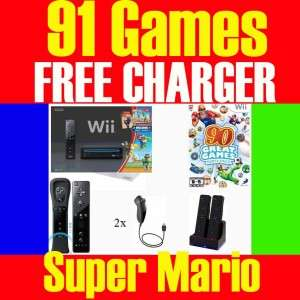 BLACK Wii CONSOLE SYSTEM TWO PLAYERS 91 GAMES SUPER MARIO BROS