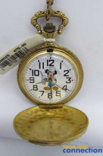 LE Railroad Train Conductor Mickey Mouse New Etched Art Pocket Watch