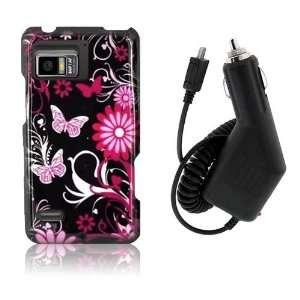 Motorola Droid Bionic XT875   Pink Butterfly Flower Design