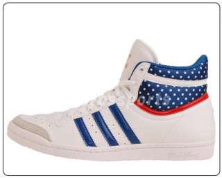 Adidas Top Ten Hi Sleek W White Blue Dots 2011 Womens Ladys Casual