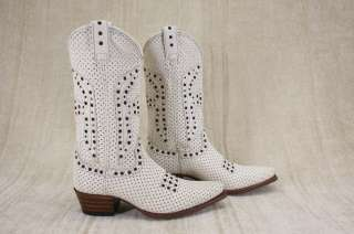 NEW Frye Daisy Duke Perforated Leather Western White Cowboy Boots size