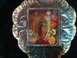 BEAUTIFUL OUR LADY OF GUADALUPE NICHE NICELY HAND PAINTED MEXICAN FOLK