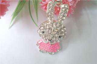 C4511 New Fashion Jewelry Womens Crystal Rabbit Necklace Chain pink