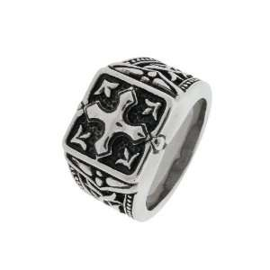 Mens Stainless Steel Casted Textured Cross Ring, Size 10
