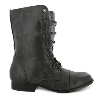 X44 NEW LADIES GREY LACE UP ARMY COMBAT BOOTS SIZE 3 UK