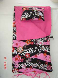 AMERICAN GIRL PARTY FAVORS SLEEPING BAG CRAZY ZEBRA