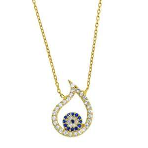 Gold Plated Sterling Silver Evil Eye Tear Drop Necklace