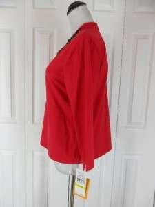 NWT New Ruby Rd Size M Medium Red V Neck Shirt Top Blouse Black $48 3