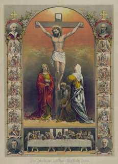 THE CRUCIFIXION AND THE HOLY CROSS LAST SUPPER POPE 13X19 PRINT