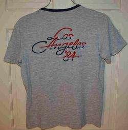 Vintage 1984 Adidas Los Angeles Olympics T shirt M Ringer Thin Tri