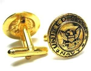 United States US Navy USN Gold Military Logo Cufflinks