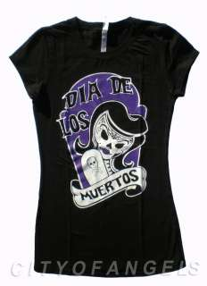 DIA DE LOS MUERTOS SUGAR SKULL WOMEN T SHIRT ROCKABILLY PUNK DAY OF