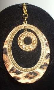 Interchangeable Gold Pendant Brown Animal Print w/ Rhinestones