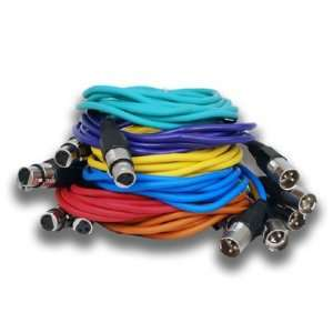 Seismic Audio   6 Pack of 10 XLR Patch Snake Cable Cords New Colored