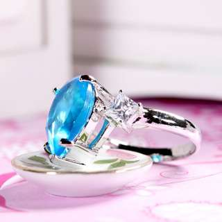 Gift Fashion Jewelry New Pear Cut 18K White Gold Plated Aquamarine