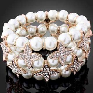 ARINA Swarovski Crystal Pearl Stretch Wedding Bracelet