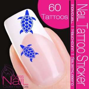 Nail Tattoo Sticker Turtle / Tortoise   blue: Beauty