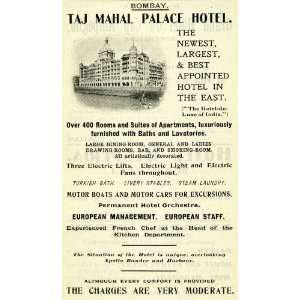 Ad Bombay Taj Mahal Palace Hotel Apollo Bunder Harbor India Turkish